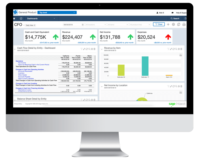 Sage Intacct Financial Services Report Dashboard